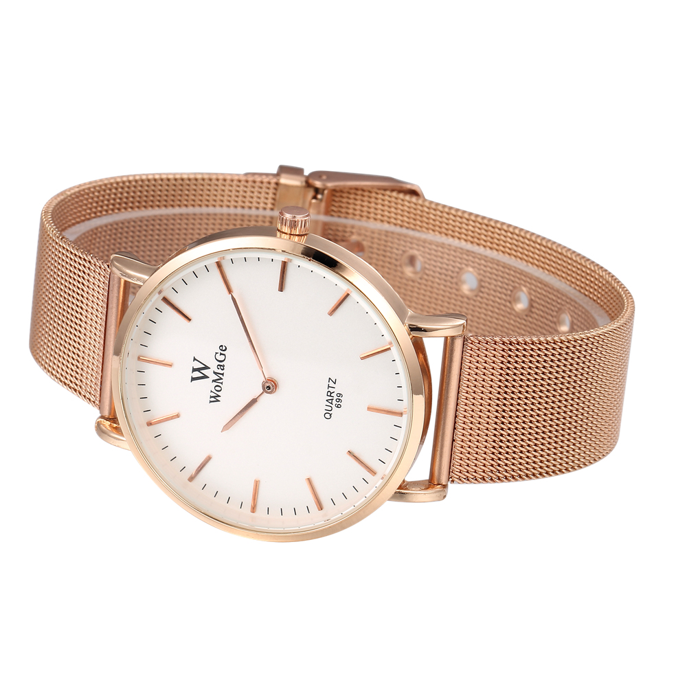 Quartz Wrist Rhinestone Ultra Thin Women Watch Geneva Luxury Rose Gold Couple Fashion Watch Montre Femme Acier Inoxydable