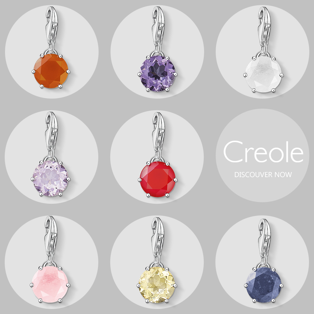 Birth Stone Colorful Crystal Charm Pendant,2019 Summer New Trendy Fashion Jewelry 925 Sterling Silver Birthday Gift