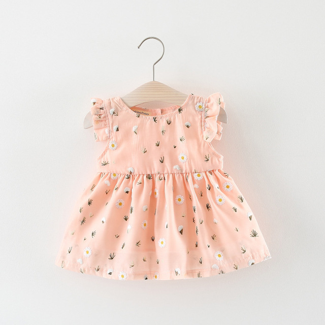 Mùa hè trẻ sơ sinh cô gái hoa đầm bé cô gái hoa cúc Thêu không tay áo cotton linen trẻ em quần áo girl trang phục