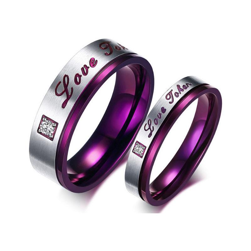 Титан Сталь пара влюбленных подарок обручальное Кольца фиолетовый любовь Обручение обещание Кольца 1 шт.