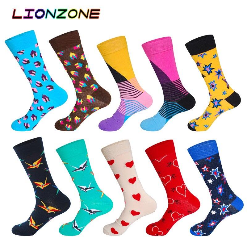 10 Pairs/Lot Men Socks Combed Cotton Brand Dove Star Heart Block Designer Lot Socks Funny Happy Dress Male Socks + Free Gift