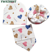 3PC/set Autumn Winter Cotton Baby Hat Scarf Set Bibs Children Skullies Boys Girls Kids Beanies Cap Collar