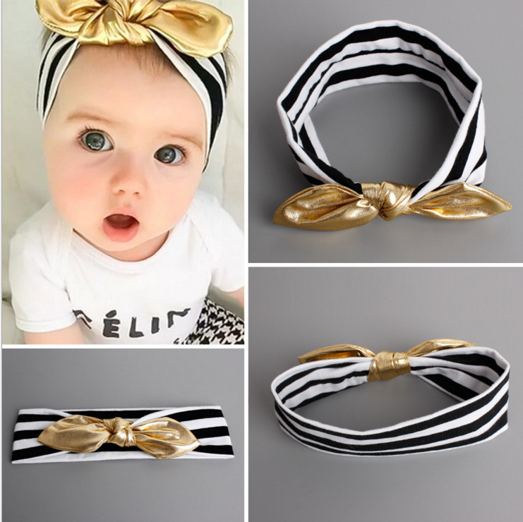 New Fashion Girls Headband Classic Cotton White Black Gold Bowknot Hairbands Girls Headwear Kids Hair Accessories fashion long curly hair wigs gold black