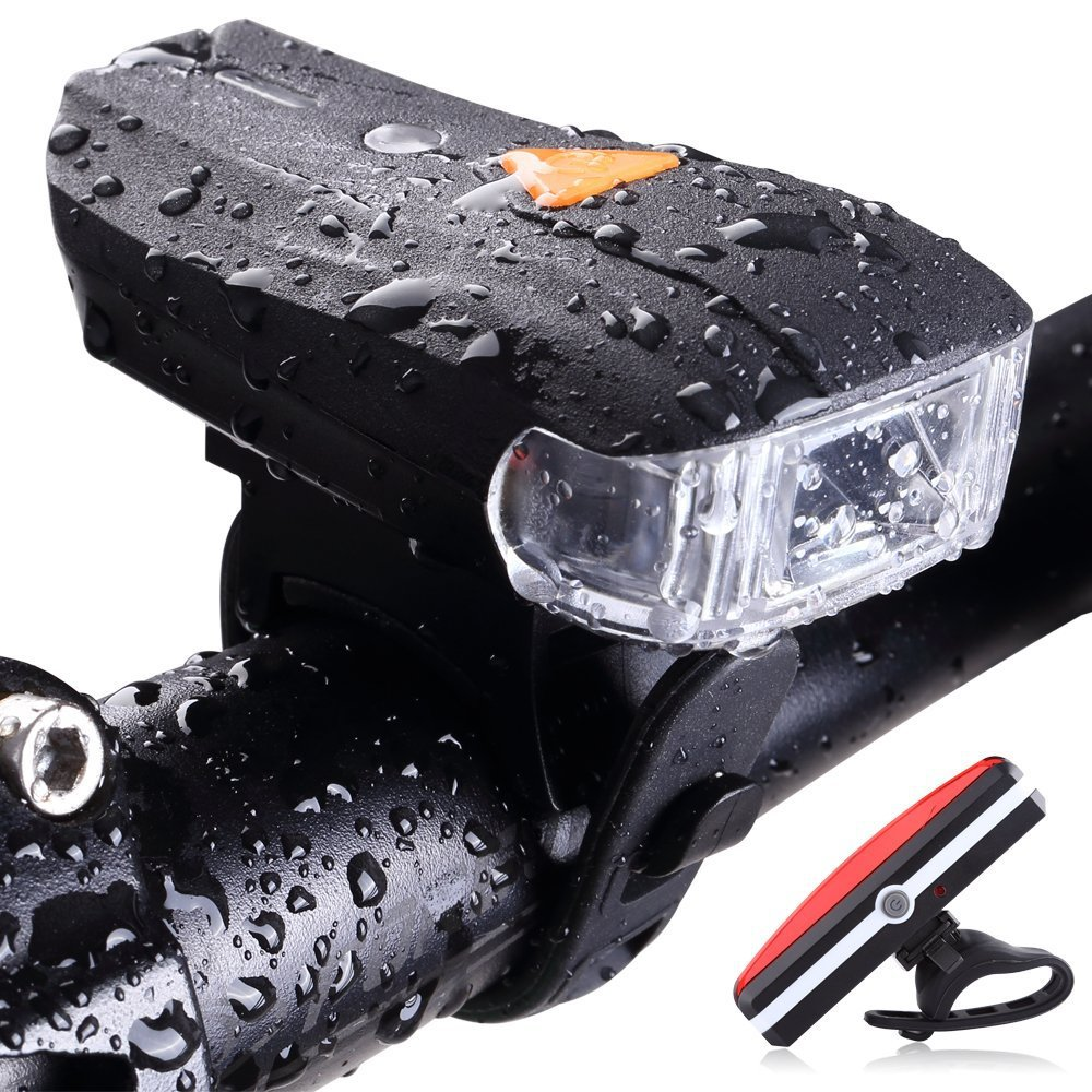 New Cycling Lights MTB Road Bike Front Headlight USB Rechargeable Waterproof Safety Bicycle Headlight Taillight Rear Lamp Set 1pcs bicycle fender with cycling glasses mtb mountain road bike mud guards fender front rear mudguard bike bicycle accessories