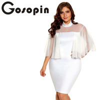 Gosopin Flare Sleeve White Bodycon Plus Size Dress Women Sexy Party Dresses Night Club Hollow Out