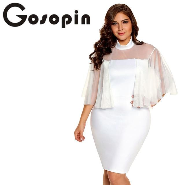 Gosopin Flare Sleeve White Bodycon Plus Size Dress Women Sexy Party