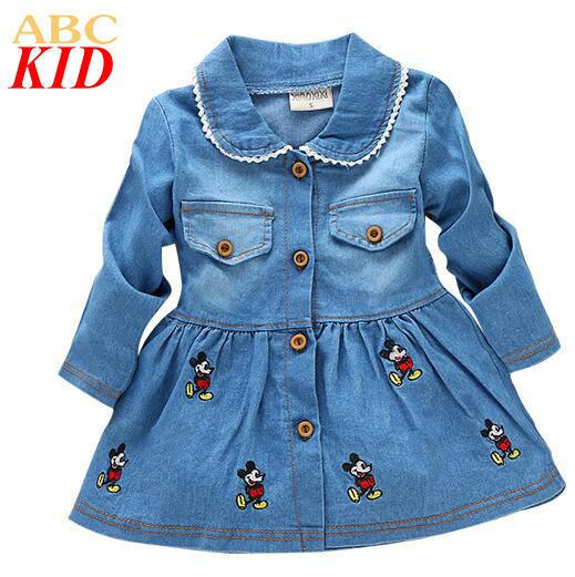 De los Bebés de Mickey Bordado Vestido Infantil Niñas Vestido de Mezclilla de Manga Larga Vestidos de Bebé Niños Jeans Dress KC059