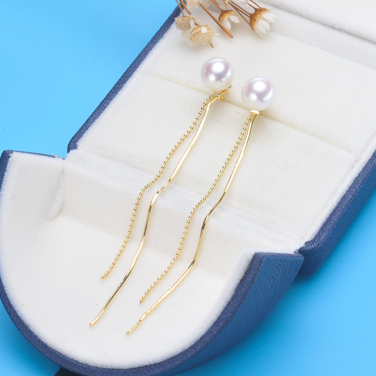 Hot fashion temperament hypoallergenic 925 Tremella nail long Tassel Earrings female Natural Pearl Stud Earrings personality fashion silver needle natural freshwater pearl stars in baroque long earrings eardrop fashion temperament