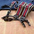 Новый 6 зажим(ов) эластичным ремешком кожа мужская подтяжки британский стиль теплые цвета подтяжки мужчины регулируемые лямках