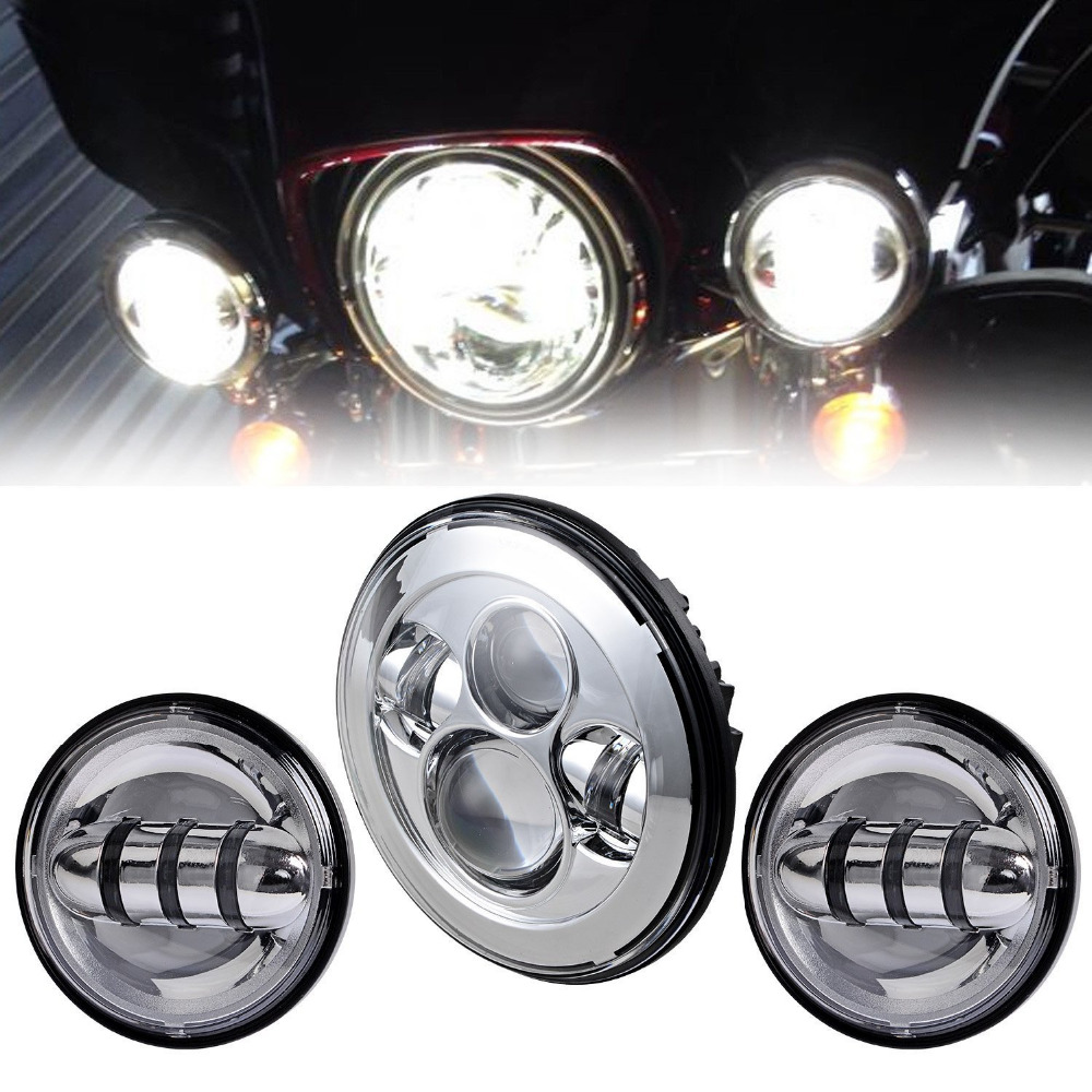 7 Chrome LED Projector Daymaker Headlight & Auxiliary Passing Lights For Harley Davidson Softail Electra Street Glide Road King