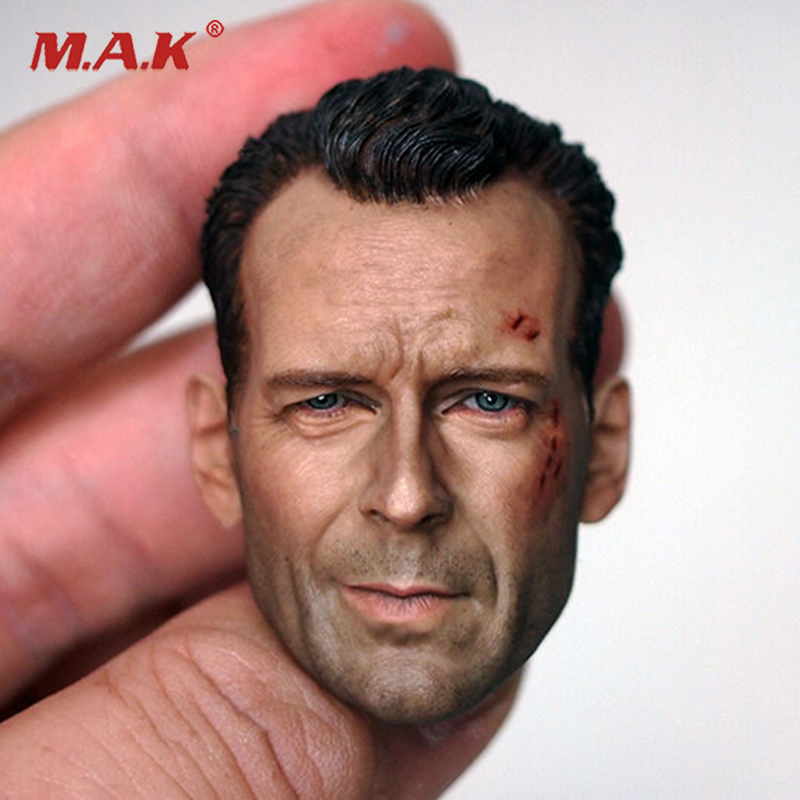 1/6 Scale Male Head Sculpt Model Movie Star Bruce Willis Carving Wounded High Quality For 12 inches Action Figure 1 6 scale soldier enter the dragon bruce lee opponent mr han shi jian clothes set free head carving