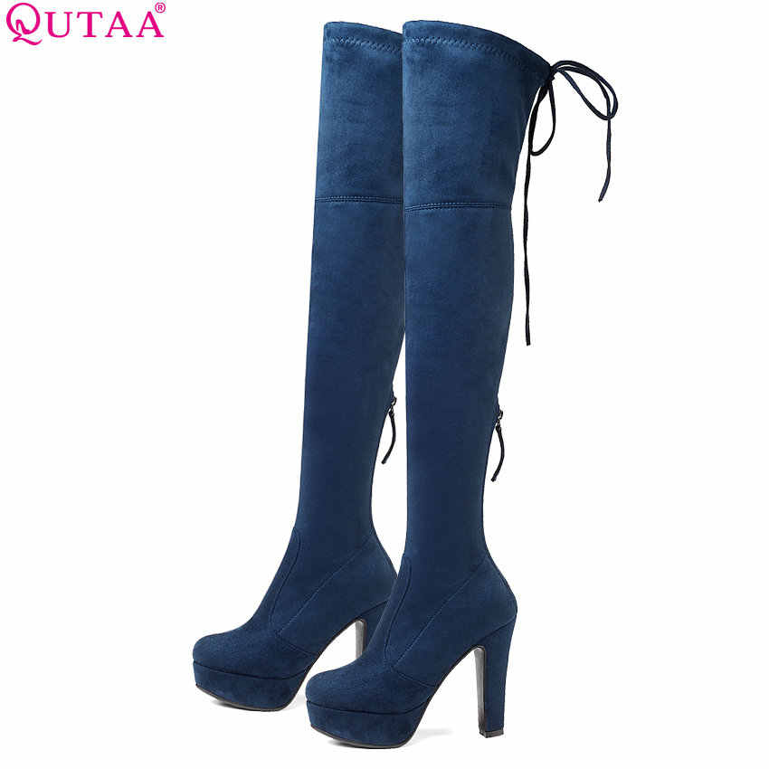 QUTAA 2020 Women Winter Shoes Platform Over The Knee High Shoes Plartorm Lace up Keep Warm Squae High Heel Women Boots Size34-43