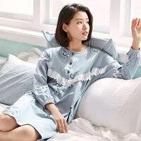 100% Cotton Women's Nightgown Lounge Nightdress Femme Lace Sleepwear Casual Girls Nightwear Loose Nightgowns Sleepshirts Fashion