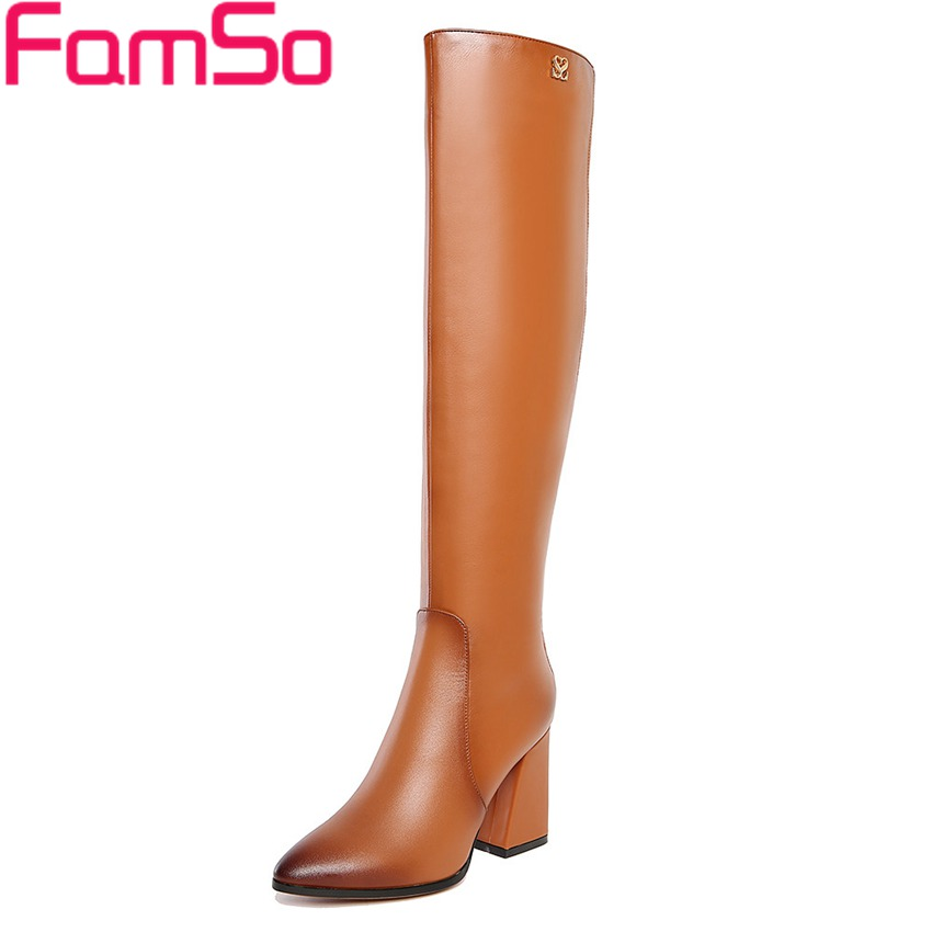 2016 New Retro Style font b Women b font Boots Black High Heels Over The Knee