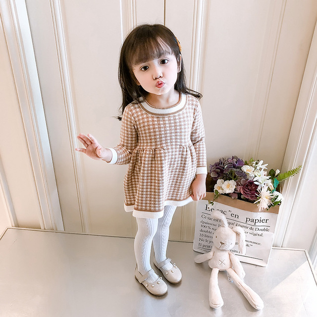 2c64cf471 1-3Y Baby Girl Sweater 2018 Winter Warm Brand Plaid Long Sweater for Girls  Wool Pullover Toddler Kids Clothes Infant Sweaters
