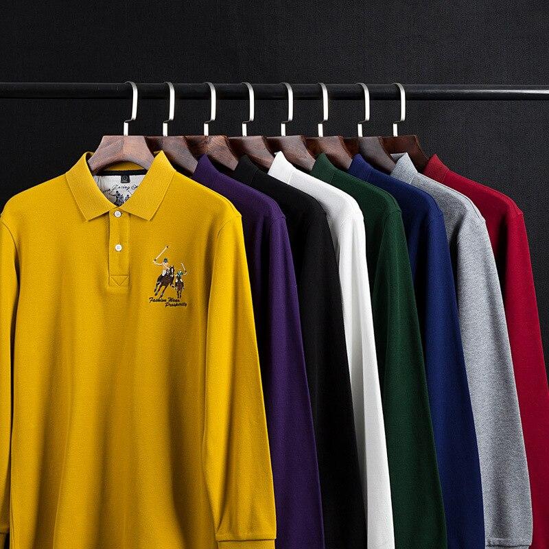 2 pièces Pour Hommes Polo Chemise 2019 Automne Nouvelle Version Coréenne Rayé Mosaïque Manches Longues Chemises minces Coton décontracté Polos Revers Homme Haut