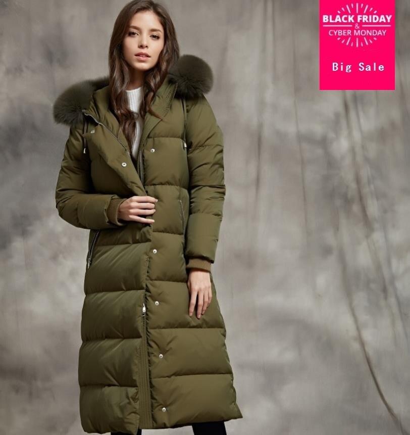 5bd27410e35c Winter new fashion brand 90% white goose down jacket female big natural fox  fur collar