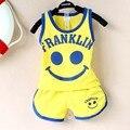 2015 Nuevos bebés/bebés ropa traje de algodón Sonrisa patrón de verano Chaleco y pantalones cortos ropa del bebé fijó 2 unids 0-2years