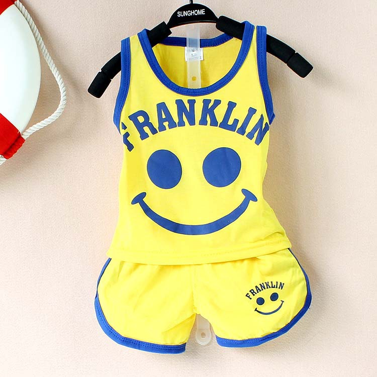 2017 New baby boys/ baby girls clothing suit cotton Smile pattern summer Vest & shorts baby boy clothing set 2 pieces baby set baby boy clothes 2 pieces