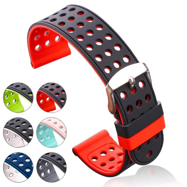 Силиконовый резиновый ремешок для часов, спортивный дышащий браслет для женщин и мужчин, модные двухцветные Ремешки для наручных часов, браслет 18 20 22 24 мм