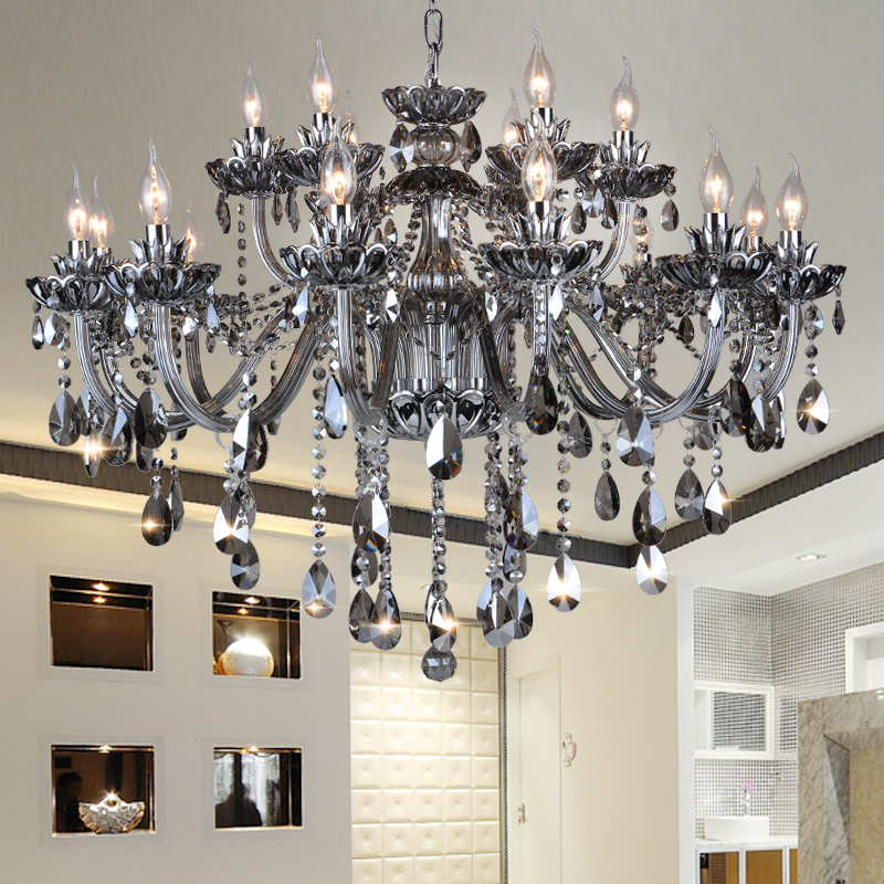 High Quality Smoked K9 Crystal Chandelier Lustre Crystal Chandeliers Light Lustres De Cristal Chandelier LED  Villa Smoked Lamp