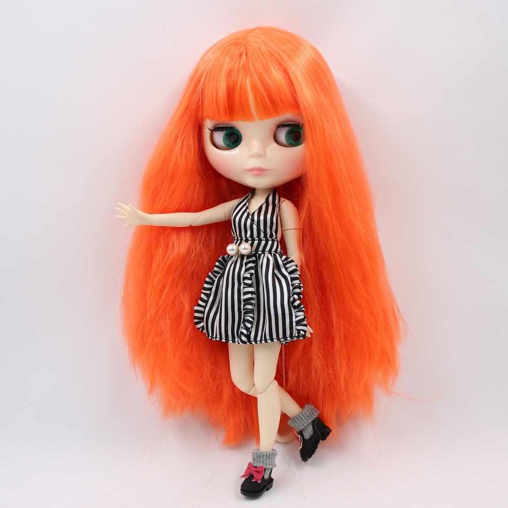 Фабрика blyth кукла 1/6 bjd шарнир тела белая кожа 30 см длинный оранжевый волос, сухие волосы BL2206