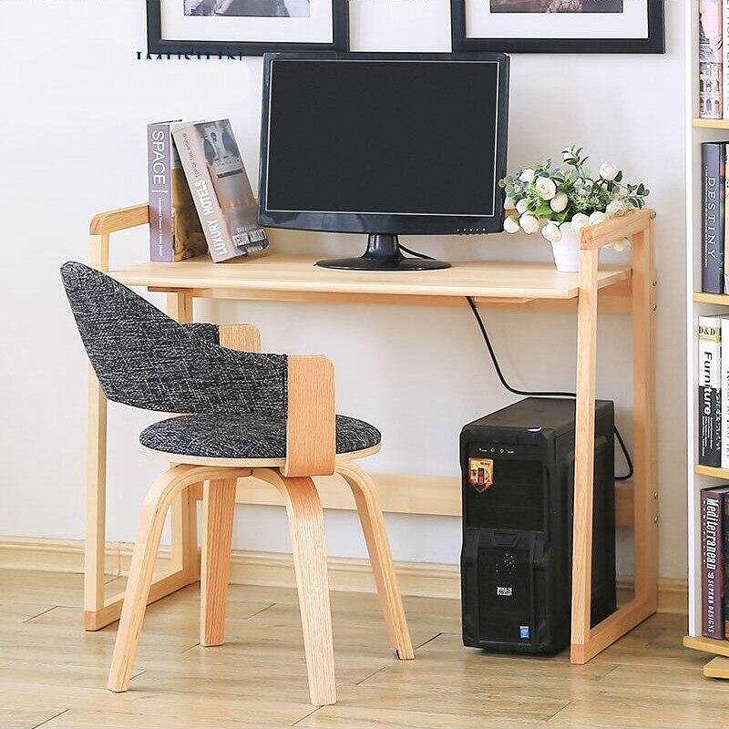 Solid wood household folding computer desk modern simple pine desk bookshelf combined desk