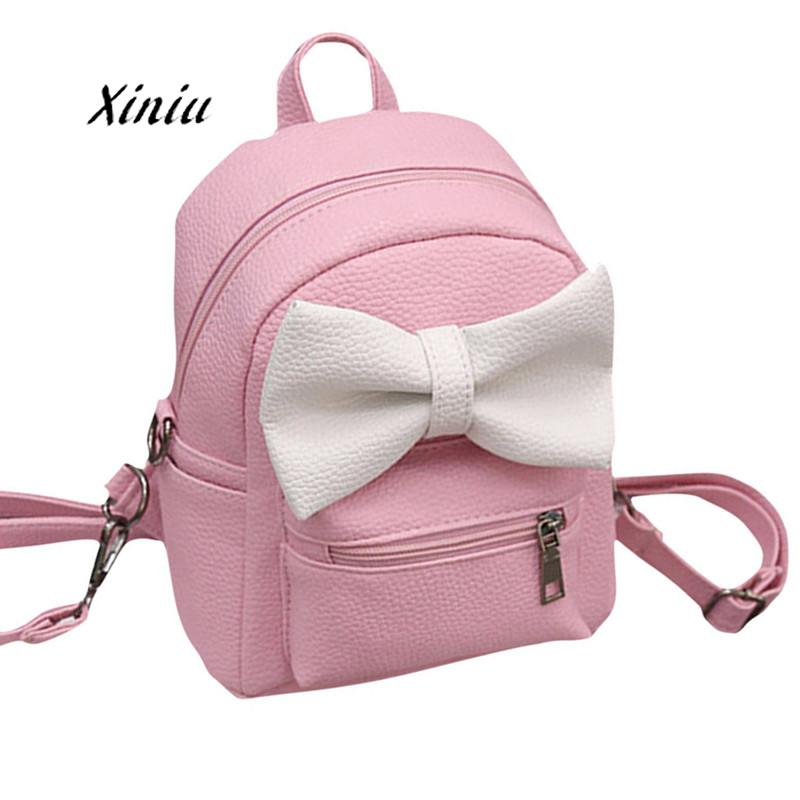 Women Backpacks Lovely Bowknot Shape Leather Shoulder School Bag Designer Backpack Girls Travel Satchel Rucksack Gift Bags
