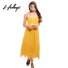 Hodoyi Sexy Chic Women Dress Vestidos Yellow Casual Holiday Lace Hem Dresses V Neck Loose Bohemia Cami Strap A-line Dresses