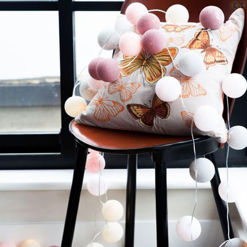 20pcs/Lot Cotton Ball LED String Lights With EU Plug Fairy Decoration Party Wedding Holiday Valentine's Day Lighting 2018 3m 220v 20pcs car models night lamp kid children room decor paper string lighting holiday lights eu uk plug luminaria