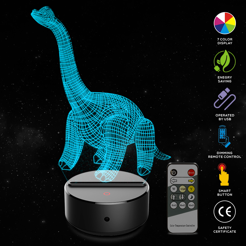 Dinosaur Shape 3D Illusion Lamp 7 Color Change Touch Switch LED Night Light Acrylic Desk lamp Atmosphere Lamp Novelty Lighting цена