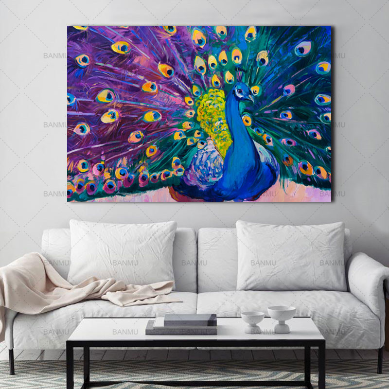 Väggkonstbilder Canvas målning Heminredning Modern Animal Peacock Modern Vintage Prints Blue Peacock on canvas no frame