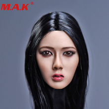 1/6 Xiu series Asian female woman girl young lady head sculpt with long black bair F 12 suntan color body figure toy
