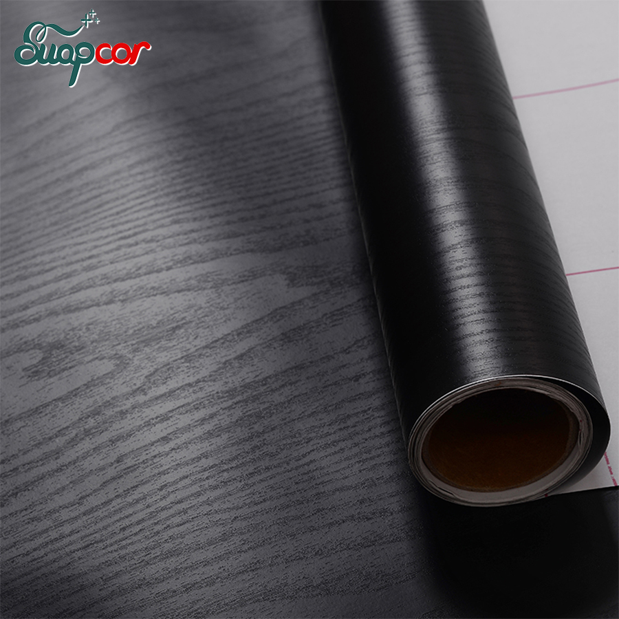 3M / 5M Self Adhesive Black Wood Wall Sticker Furniture Hiasan Filem Untuk Kabinet Dapur Pintu Masuk Pintu Vinyl Wallpaper Decor