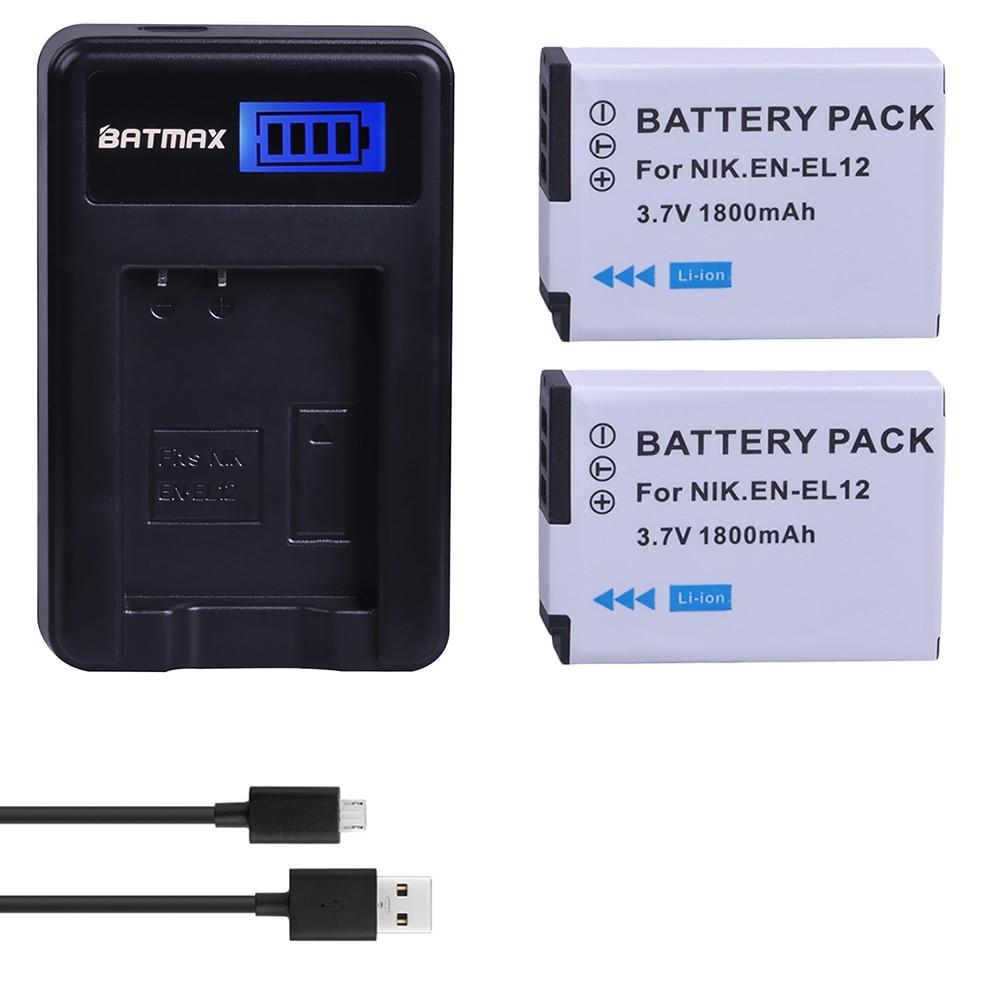 2pcs EN-EL12 ENEL12 EN EL12 Battery + LCD USB Charger For Nikon COOLPIX S630 S610 S640 S1000 S1200pj S31 S6000 S6100 AW120s P340