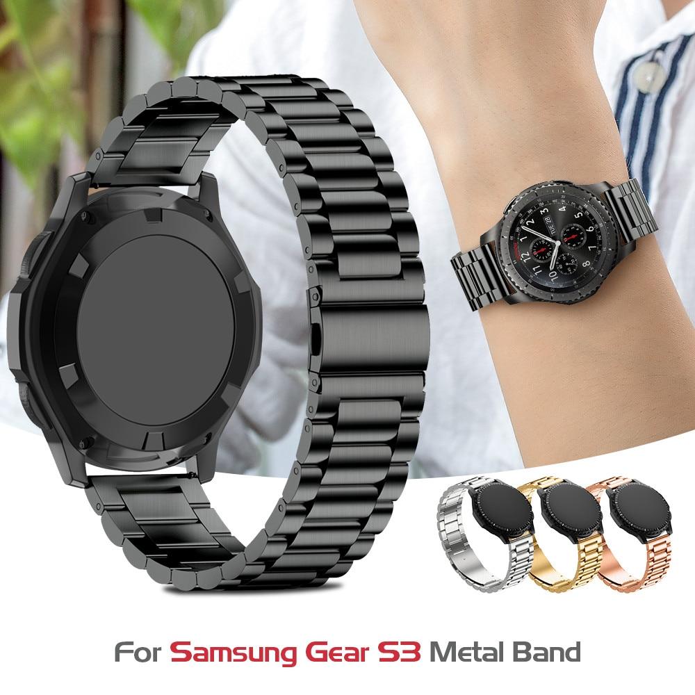 Nerezový pásek na hodinky pro zařízení Samsung S3 Klasický kovový řemínek pro Gear S3 Smart Watch 3 link Watchband s nastavovacím nástrojem