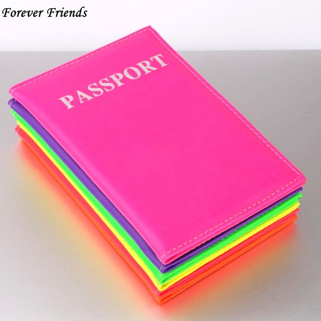 ForeverFriendsLavender fluorescent Passport Holder Cover PU Lear ID Card Fashion Travel passport Covers passport credit Case