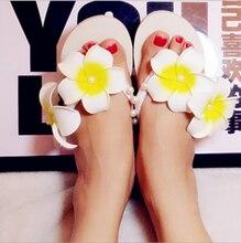 2016 nouvelle mode dame pantoufle fleur balnéaire plage sandales femme Plumeria plat d'été sandales livraison gratuite NLX04