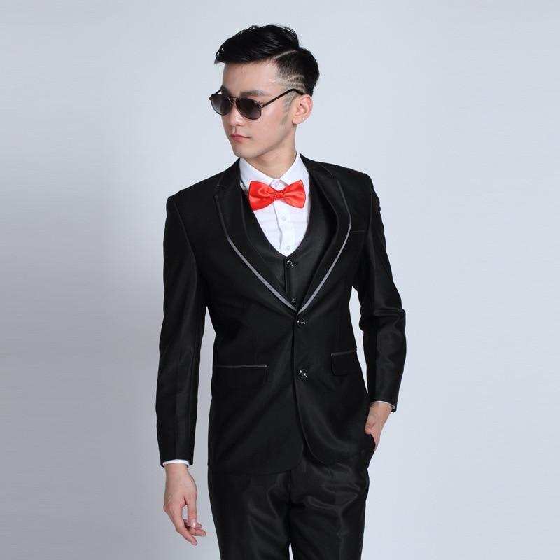 29a86e6ed3 2018 Men Business Wedding Suit Slim Fit Classic Male Suits Blazer Luxury  Black Suit Men Two Button 2 Pieces (Suit Jacket+Pants)