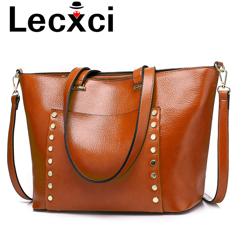 Lecxci women PU leather handbags shoulder bag rivets women bag fashion tote crossbody bag large shoulder bag for women 2018 цена