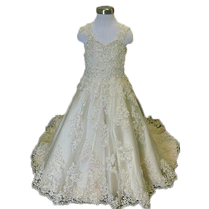 Elegant   Flower     Girl     Dresses   with Train Sweetheart White First Communion Kids Ball Gowns for   Girls   Wedding Little Bride   Dress