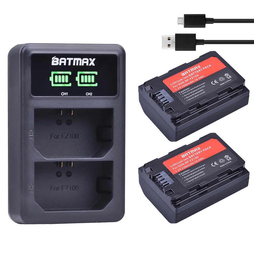 2 Stück 2280 mAh NP-FZ100 NPFZ100 NP FZ100 Batterie + LED Dual USB Ladegerät für Sony NP-FZ100, BC-QZ1, Sony a9, a7R III, a7 III, ILCE-9