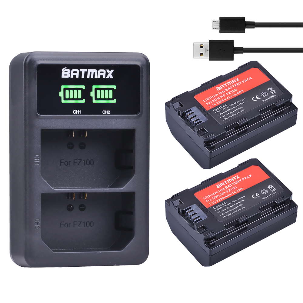 2Pc 2280mAh NP-FZ100 NPFZ100 NP FZ100 Battery + LED Dual USB Charger For Sony NP-FZ100, BC-QZ1, Sony A9, A7R III, A7 III, ILCE-9