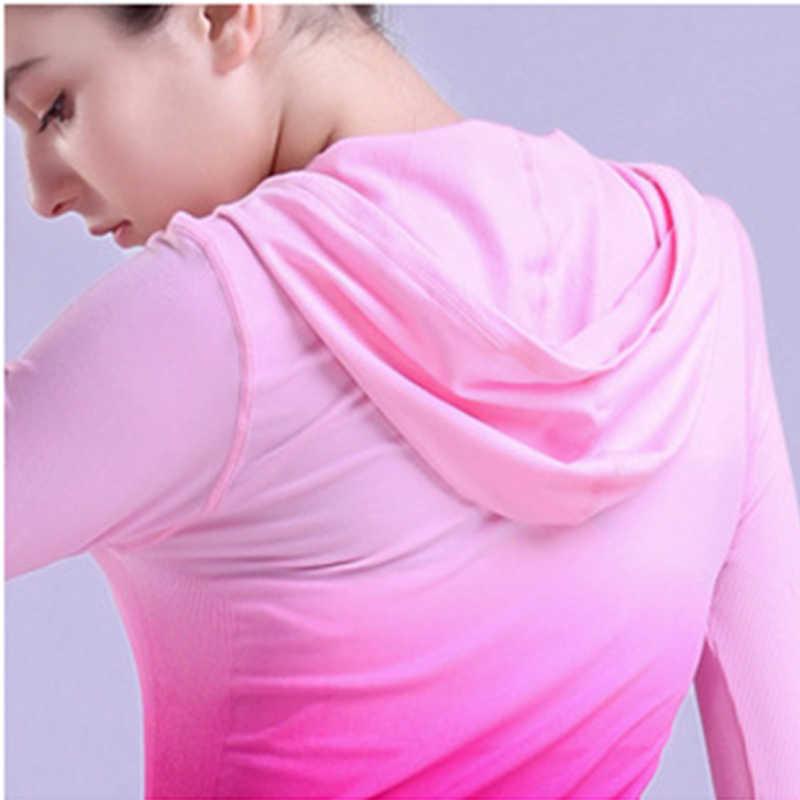 Fitness chaquetas con capucha sombrero cremallera Mujer manga larga Camiseta sudadera correr chaqueta de Yoga tapas camisa femenina ropa deportiva