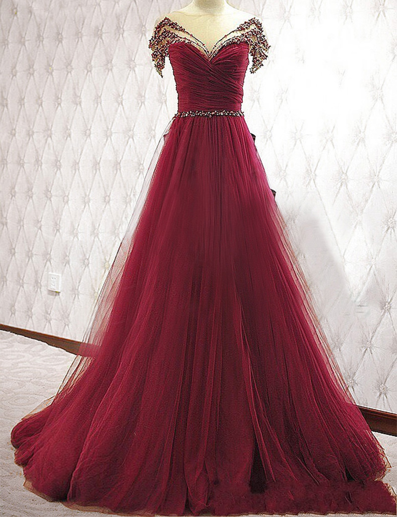 BacklakeGirls 2018 Hot Sale Beaded A Line Wedding Guests Gowns Red ...