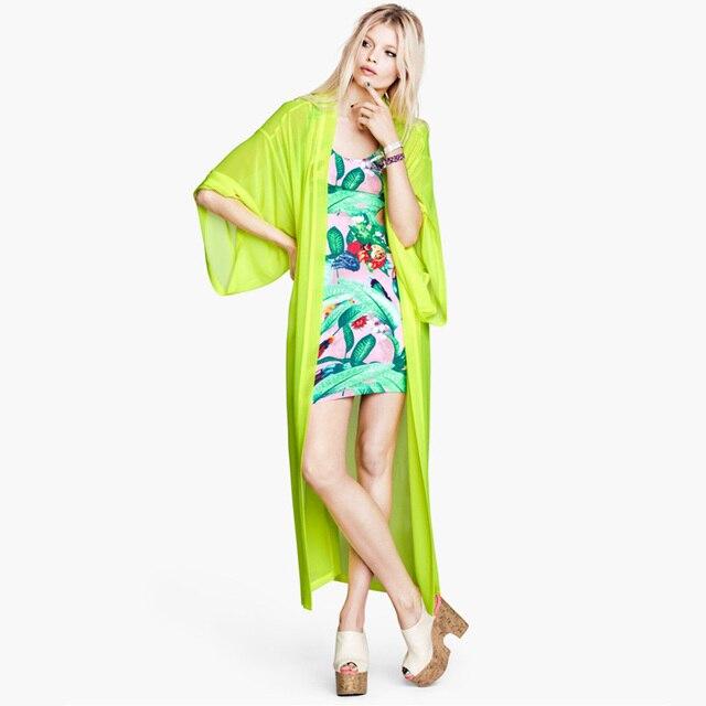 Good Quality Brief Neon Lemon Yellow Kimono style Dressing Gown Long ...