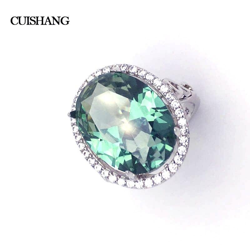 CSJ Design classique créé bague saphir vert Sterling 925 argent bijoux fins femmes fête cadeau de mariage