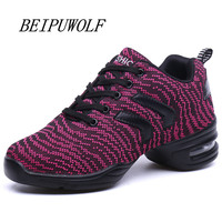 2017 New Women And Girls Dance Sneakers Breathable Flywire Shoes High Quality Height Increasing Sneakers Jazz