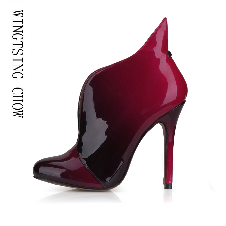 2016 Winter Black Red Sexy Party Shoes Women Round Toe Stiletto High Heels Ladies Ankle Boots Zapatos Mujer Plus Size 0640CBT-i5 lf80855 sexy round toe punk ring gothic club party platform stiletto ankle boots black