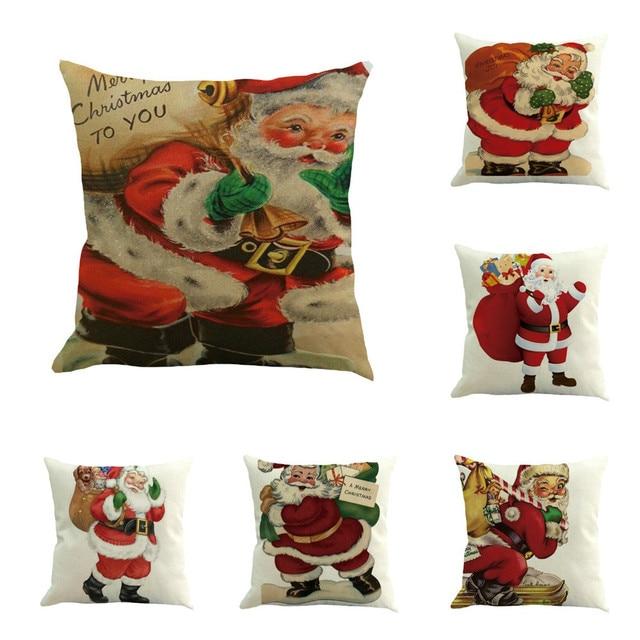 b218a34b90 Merry Christmas Pillow Case Cute Santa Claus Cotton Linen Sofa Car Home  Waist Cushion Cover Throw Pillow Case Pillow Covers